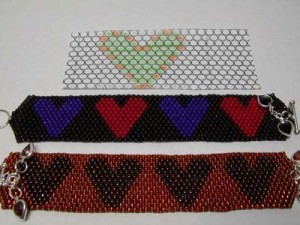 Picture of Brick Stitch Heart Bracelet Pattern