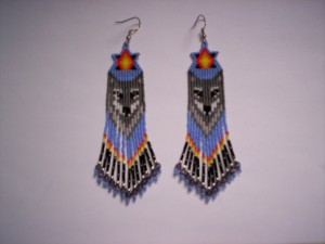 Photos of Brick Stitch Wolf Fringe Earring