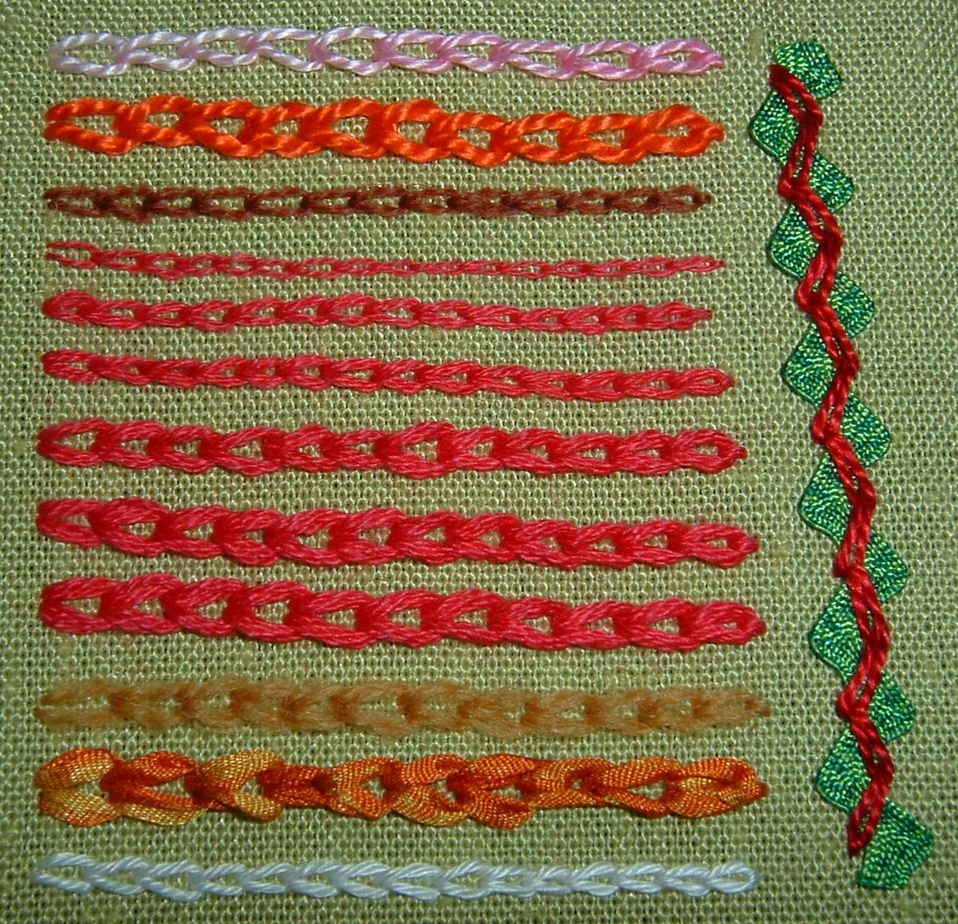 Chain Stitch Embroidery Stitch Piece N Purl