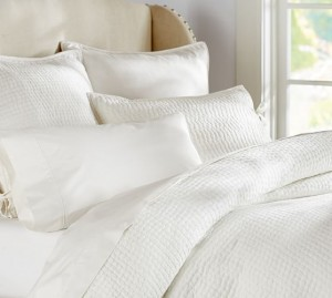 Pick Stitch White Quilted Shams