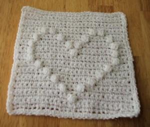 Granny Square with a Puff Stitch Heart