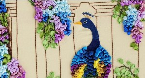 Ribbon Embroidery Peacock
