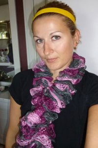 Pictures of Spool Knit Ruffle Scarf