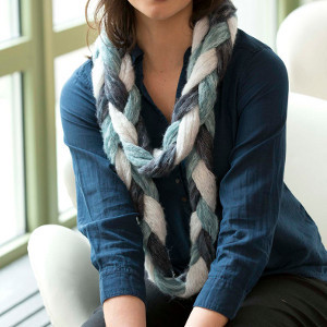 Finger Knit Braided Scarf
