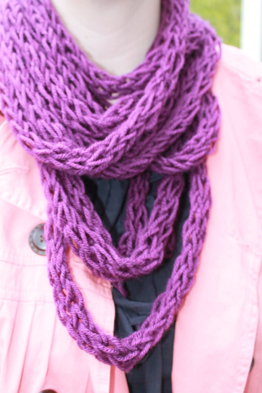 Finger Knitting Scarf : How to finger knit a scarf tutorial and patterns stitch