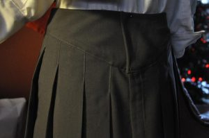 Top Stitched Pleat Skirt