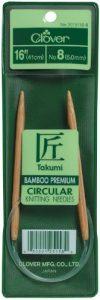 Takumi Bamboo Circular 16-Inch Knitting Needles