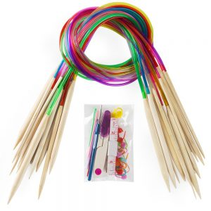 Vancens Circular Wooden Knitting Needles with Colorful Plastic Tube
